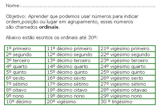 Atividade Numeros Ordinais 2º Serie So Pedagogia